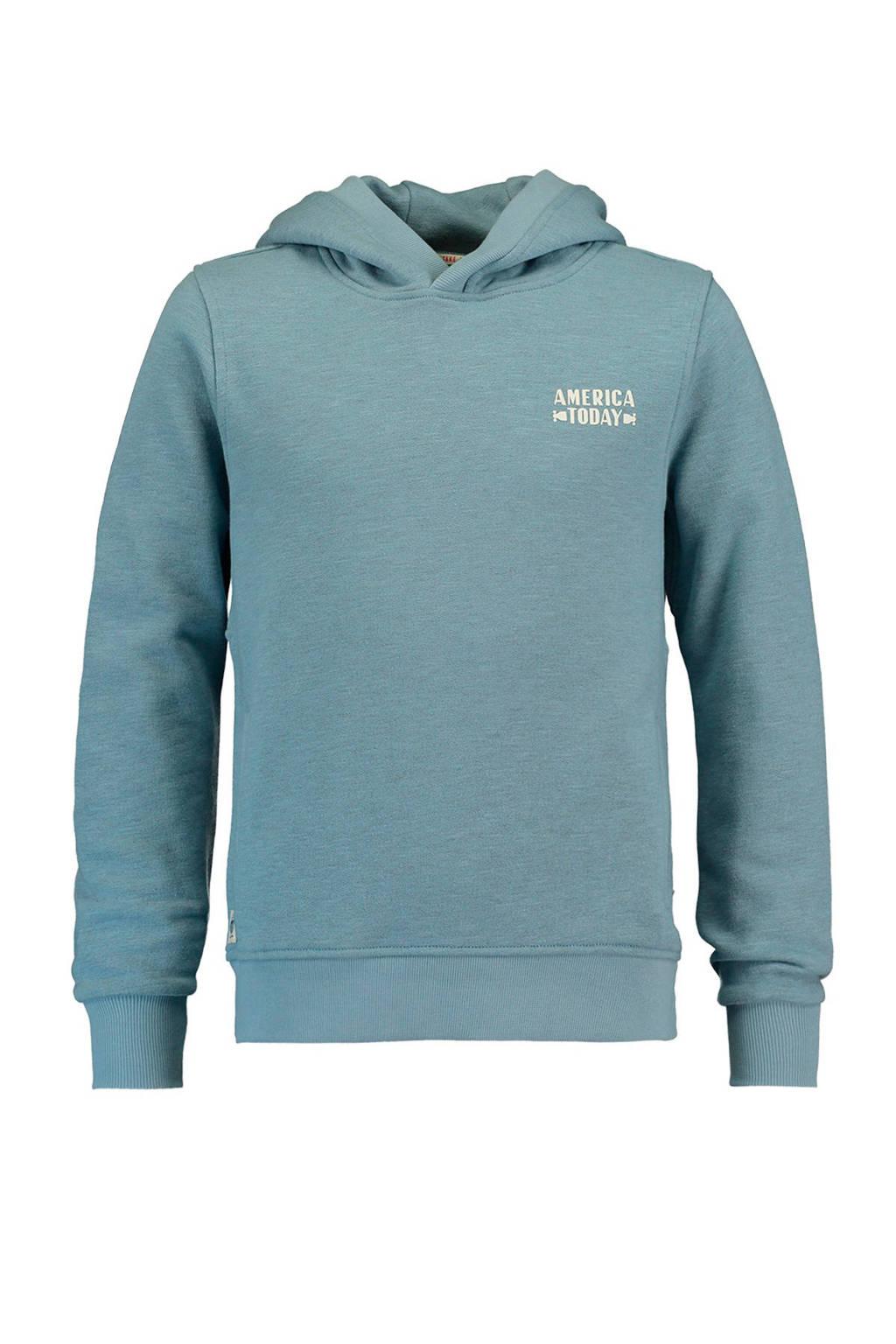 America Today Junior hoodie Stef met print blauw, Blauw