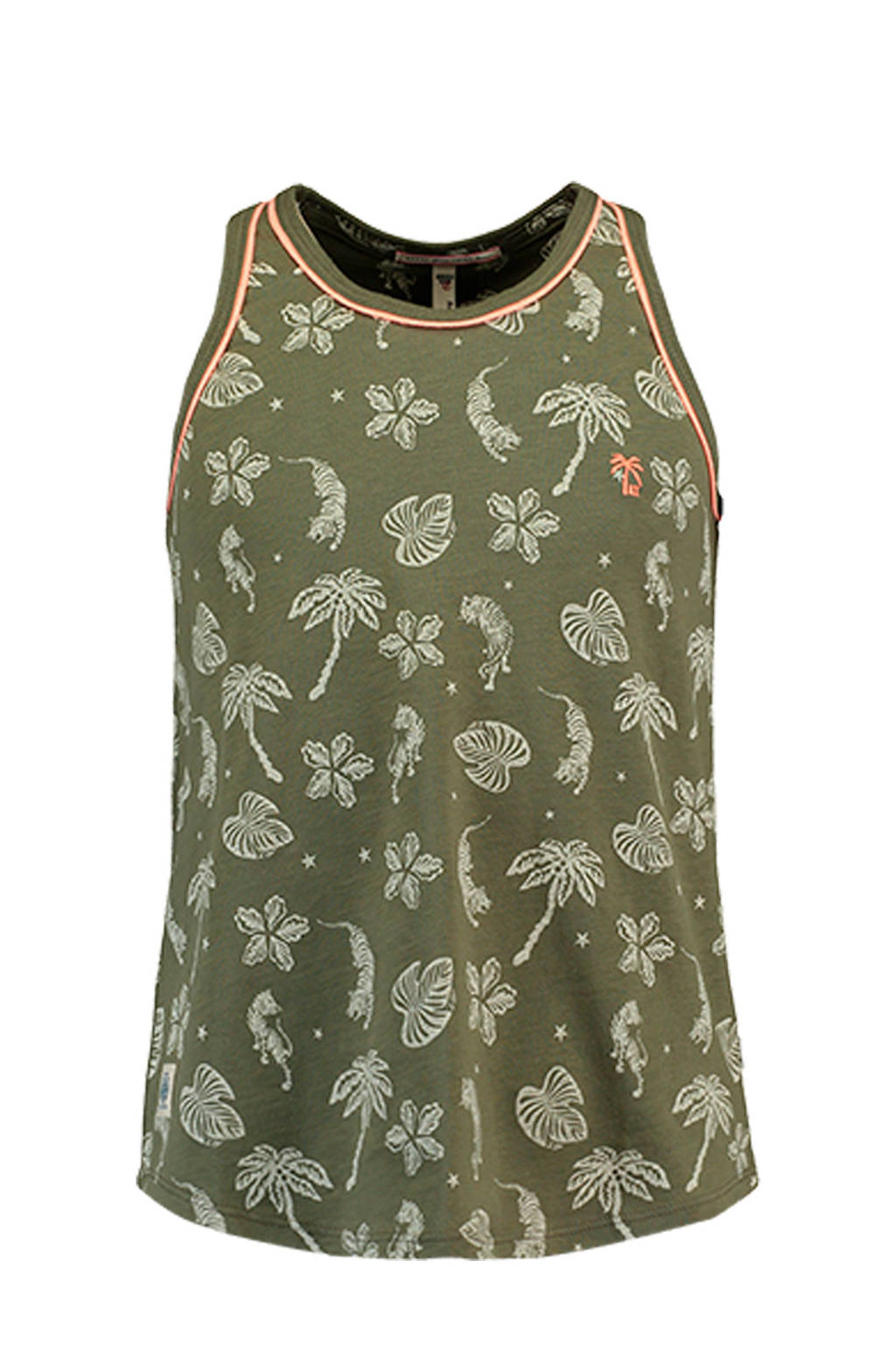 America Today Junior singlet Ginger met alloverprint groen, Groen