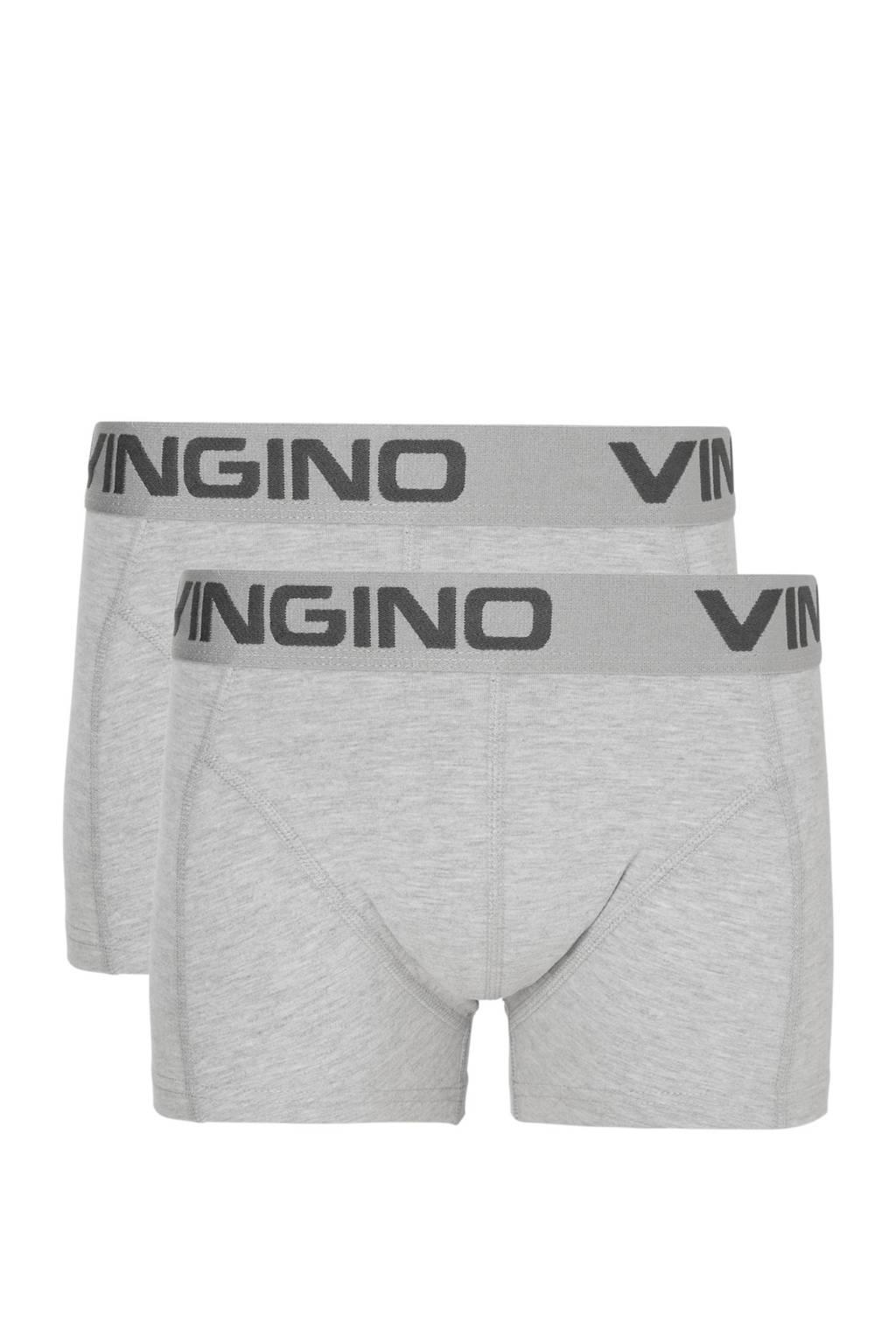 Vingino   boxershort - set van 2 grijs melange, Grijs melange