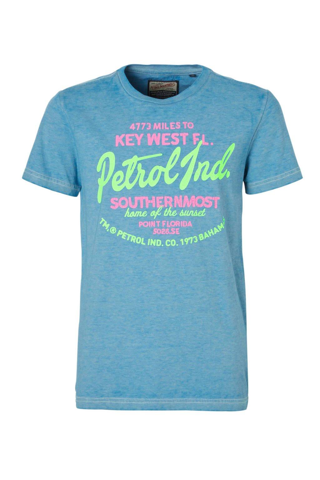 Petrol Industries T-shirt met print lichtblauw, Lichtblauw