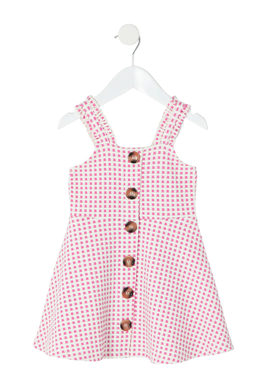 River Island geblokte jurk roze, Roze/wit