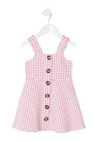 geblokte jurk roze