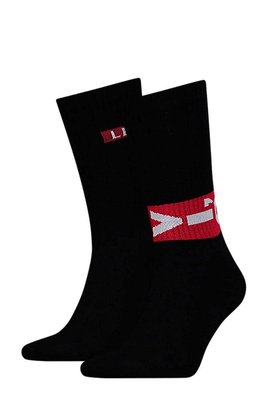 Levi's sokken met logo zwart, Zwart/rood