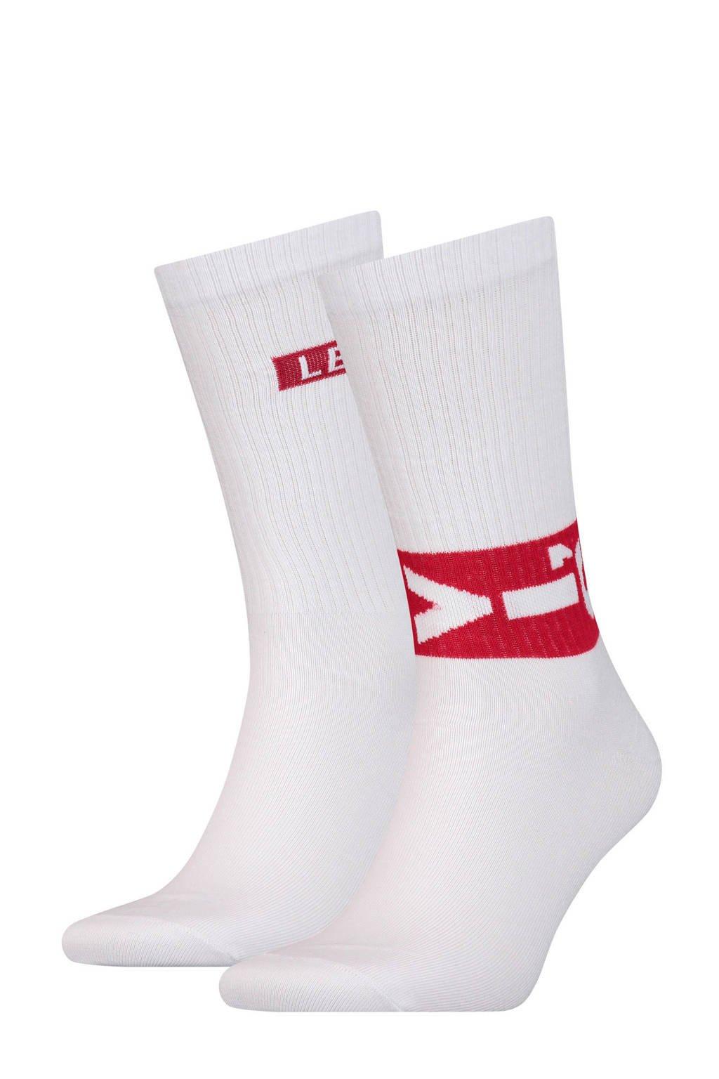 Levi's sokken met logo wit, Wit/rood