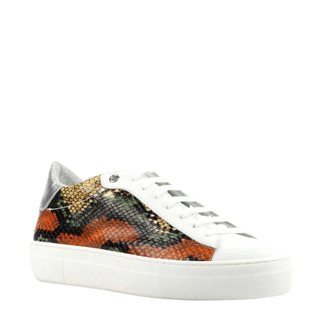 Lina Locchi   leren sneakers met slangenprint oranje, Oranje