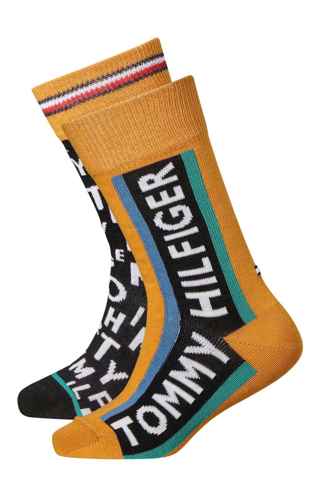 Tommy Hilfiger sokken  loose letters ( 2 paar) geel, Geel/groen/zwart/wit