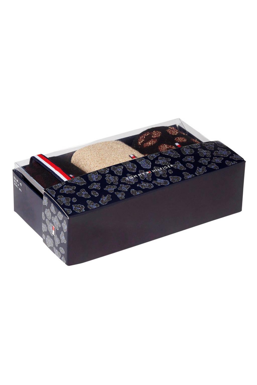 Tommy Hilfiger giftbox sokken ( 3 paar ) rood, Zwart/donkerrood/goud/ecru