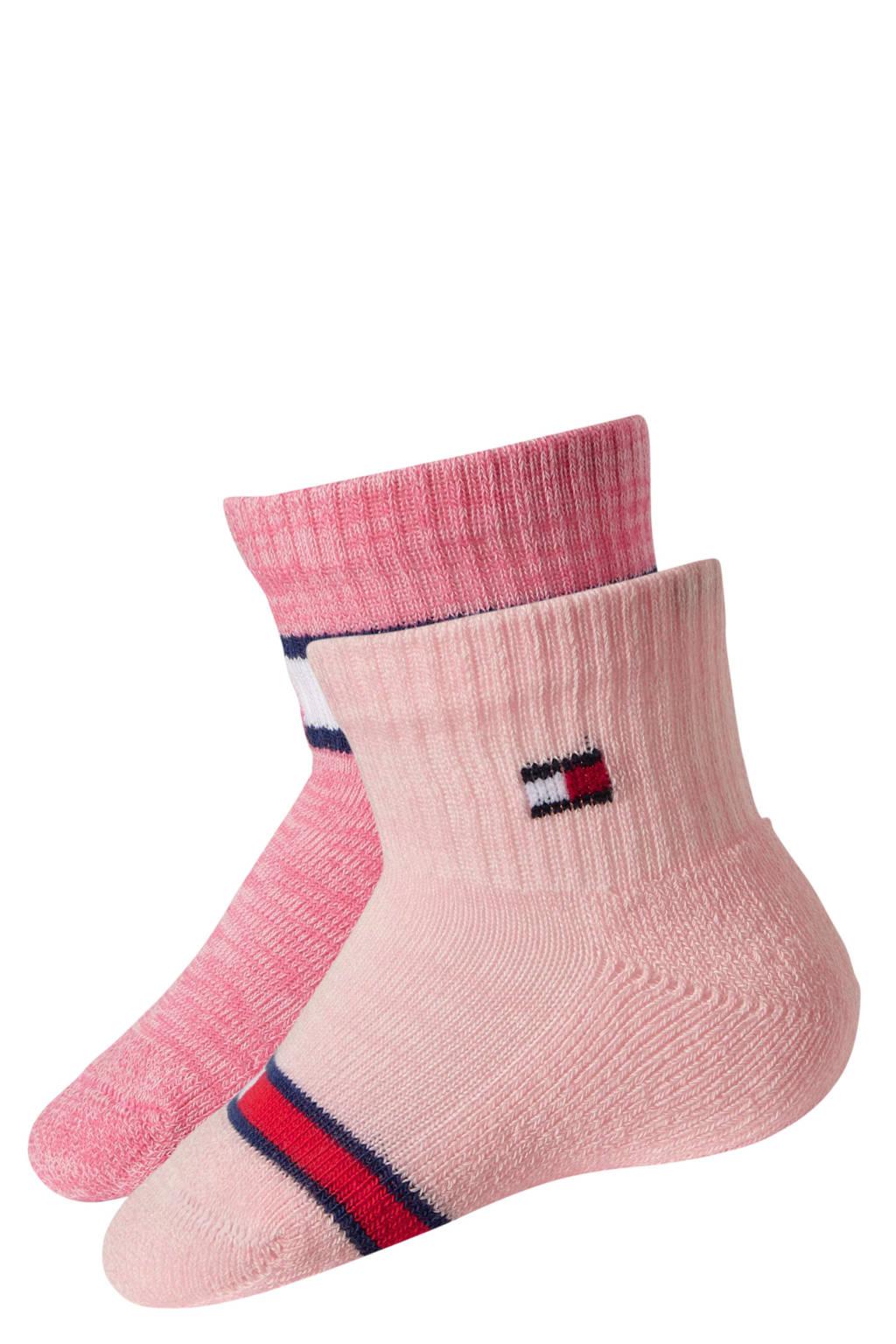 Tommy Hilfiger baby sokken run free ( 2 paar ) roze, Roze/wit/rood/blauw