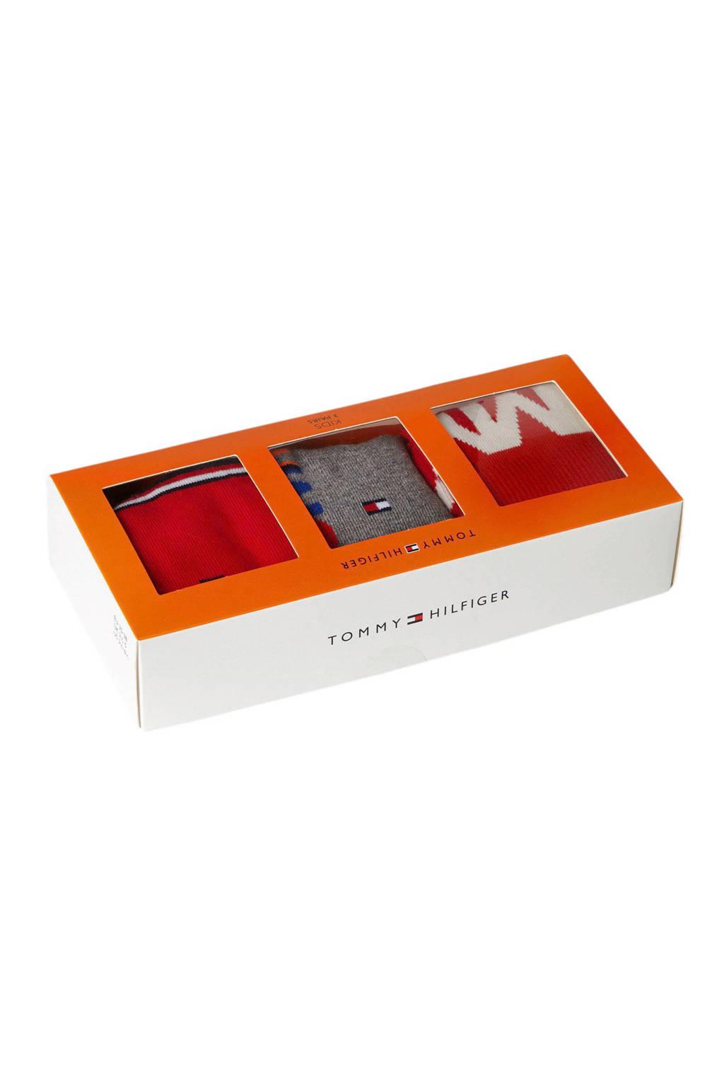 Tommy Hilfiger giftbox sokken ( 3 paar) rood, Rood/oranje/grijs/wit/blauw