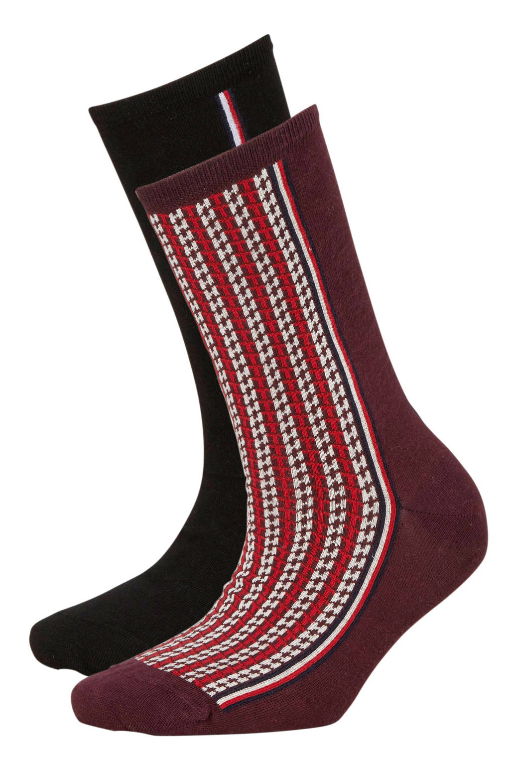 Tommy Hilfiger sokken Monogram ( 2 paar) bordeaux, Bordeaux/zwart/ecru