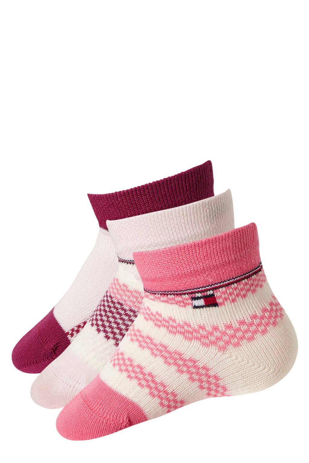 Tommy Hilfiger giftbox baby sokken ( 3 Paar ) roze, Roze/wit/rood