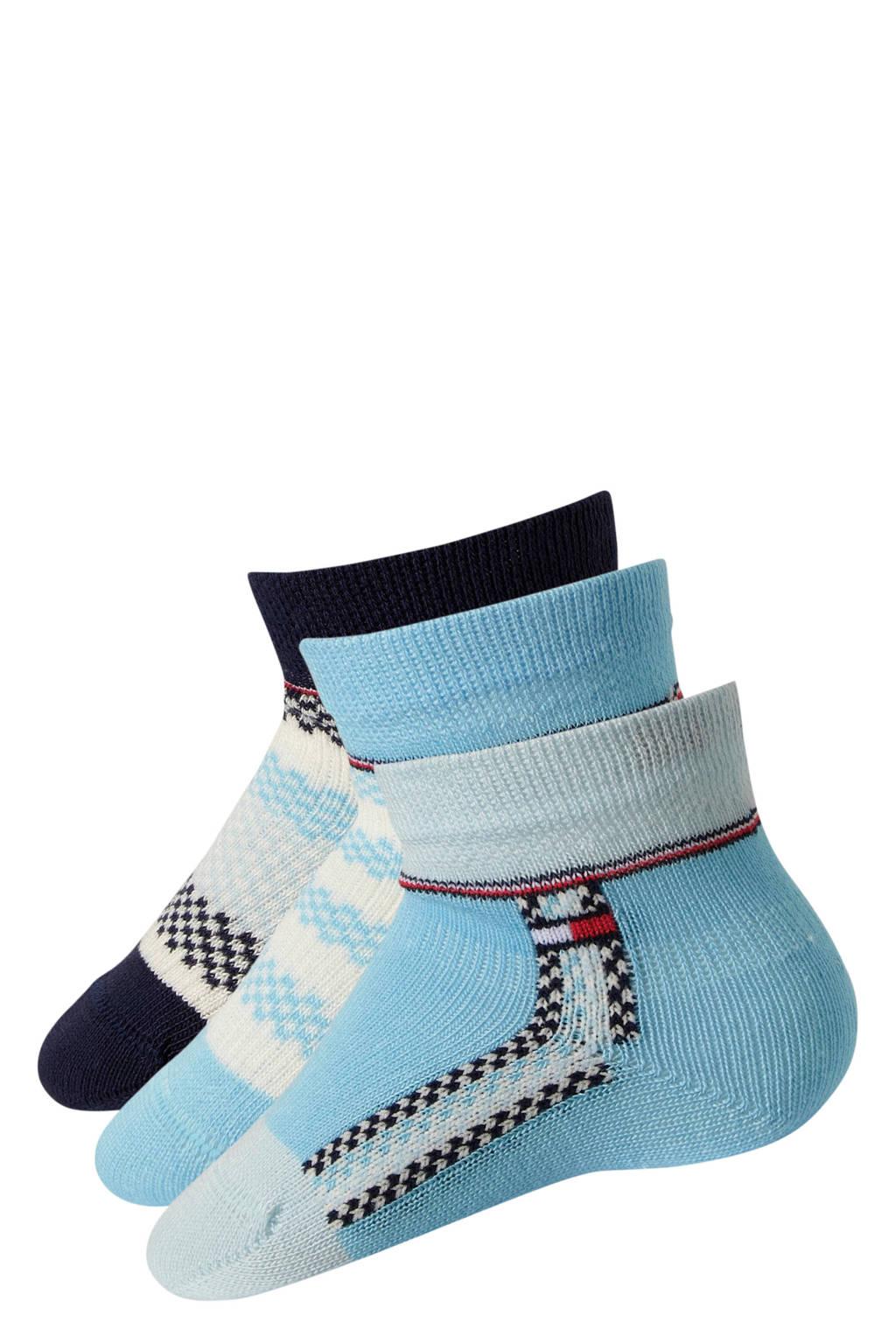Tommy Hilfiger giftbox baby sokken ( 3 Paar ) lichtblauw, Lichtblauw/blauw/donkerblauw
