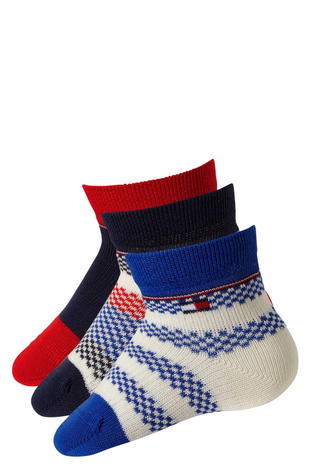 Tommy Hilfiger giftbox baby sokken ( 3 Paar ) blauw, Blauw/marine/rood