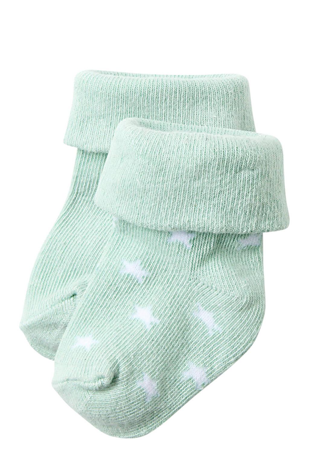 Noppies baby sokken ( 2 paar ) wit, Wit/grijs
