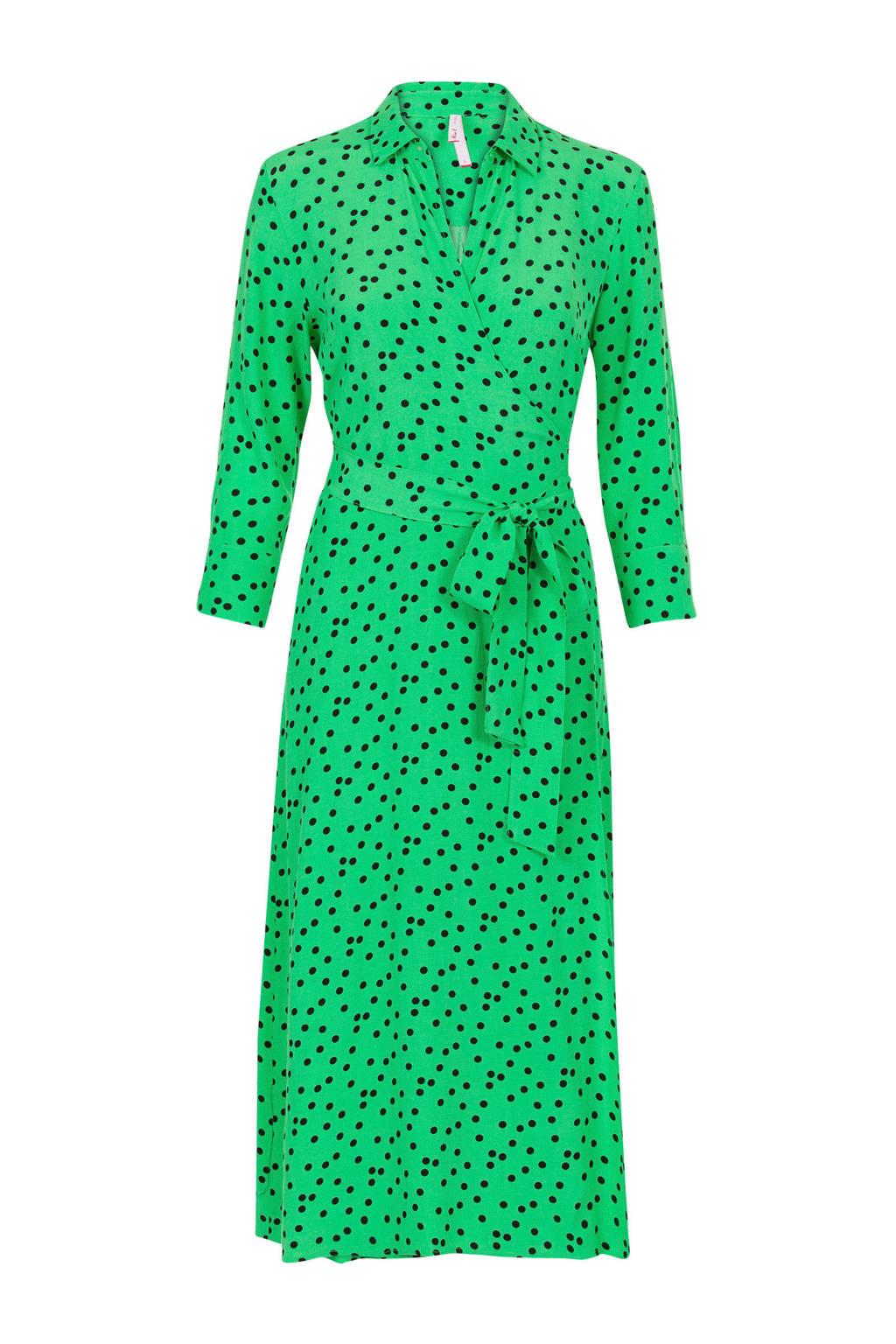 Miss Etam Regulier wikkeljurk met stippen groen, Groen