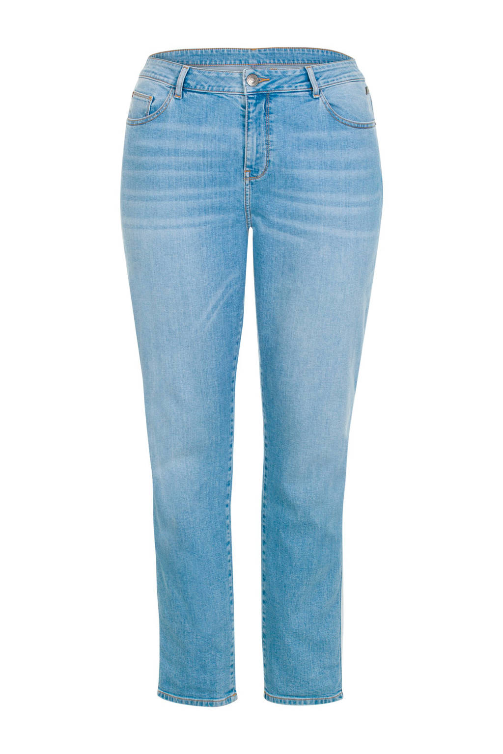 Miss Etam Plus slim fit jeans met zijstreep, Licght denim