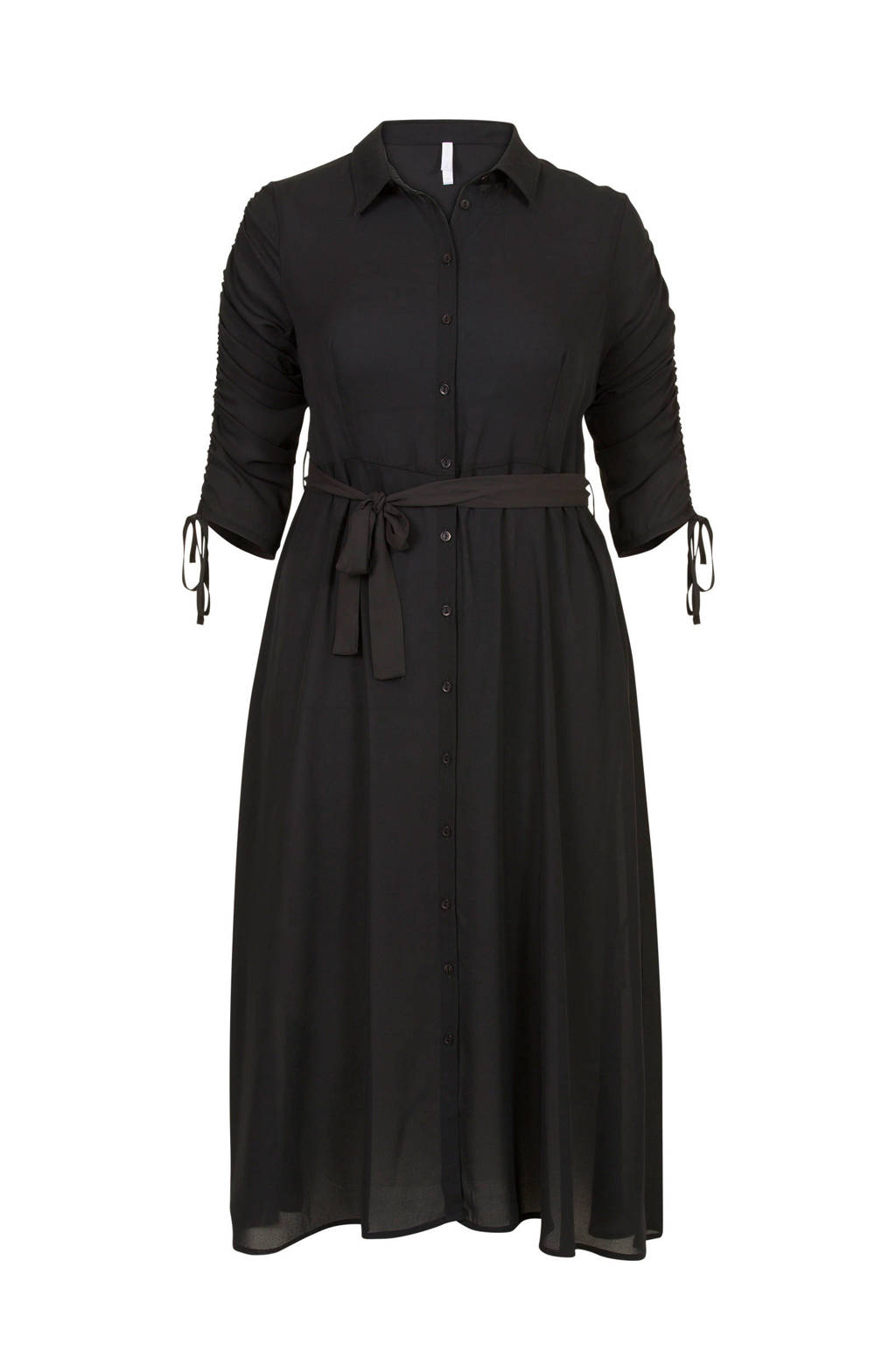 Miss Etam Plus blousejurk met taillestrik, Zwart