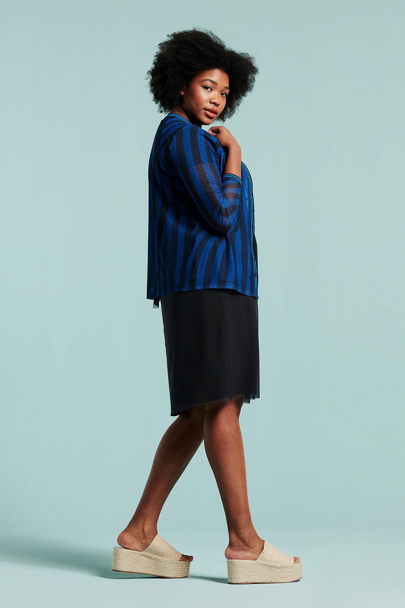 streepprint blouse van blauw met mesh Didi wISzqq