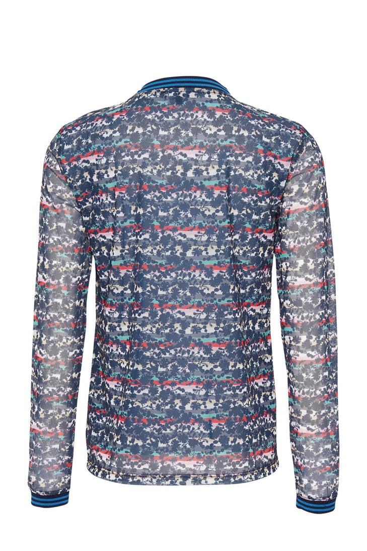 met over blauw blouse van all mesh print Didi nxSUAZw