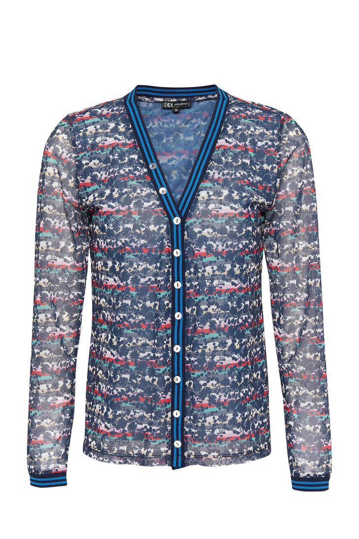 blauw van print met mesh over all Didi blouse 1qFz0qU
