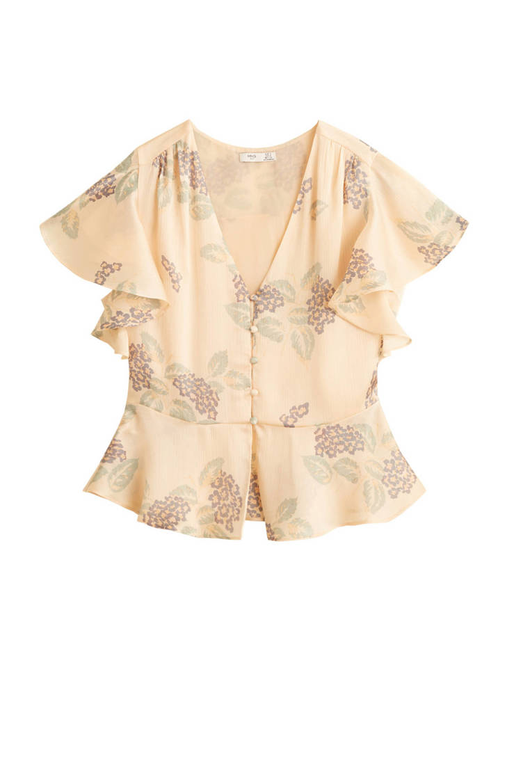 Mango Mango peplum blouse peplum lichtgeel blouse lichtgeel rPrRxqU