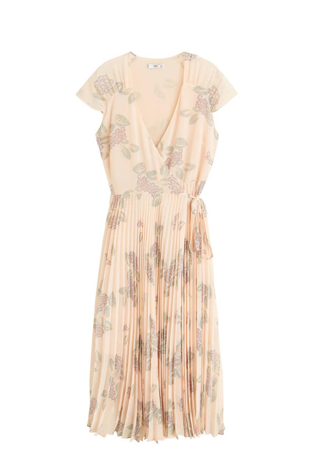 Mango jurk met bloemenprint beige, Beige