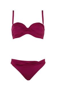 Lascana strapless beugel bikini donkerrood, Donkerrood