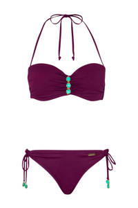 Lascana strapless bandeau bikini bordeaux, Bordeaux