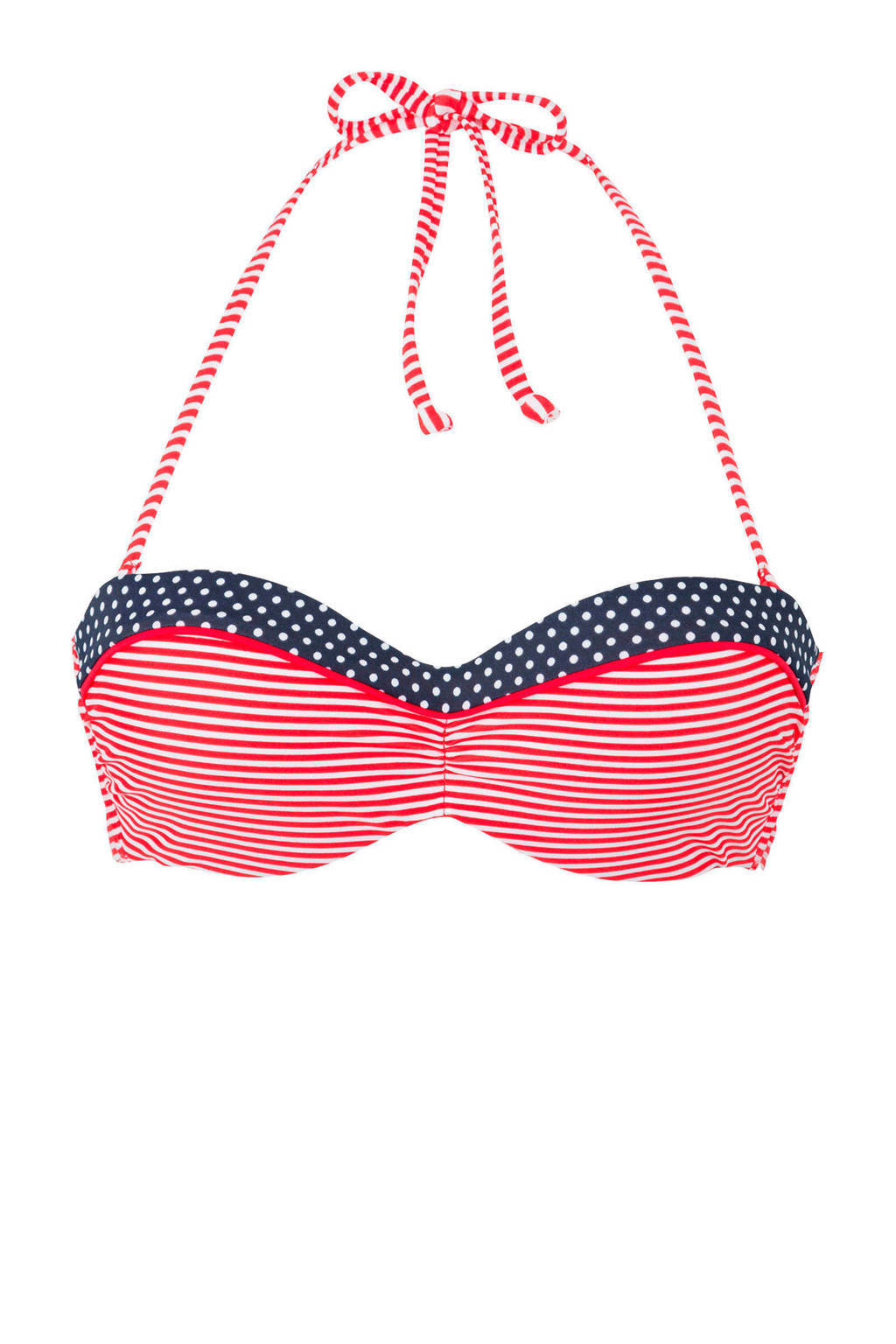 s.Oliver gestreepte strapless beugel bikinitop rood, Rood/wit