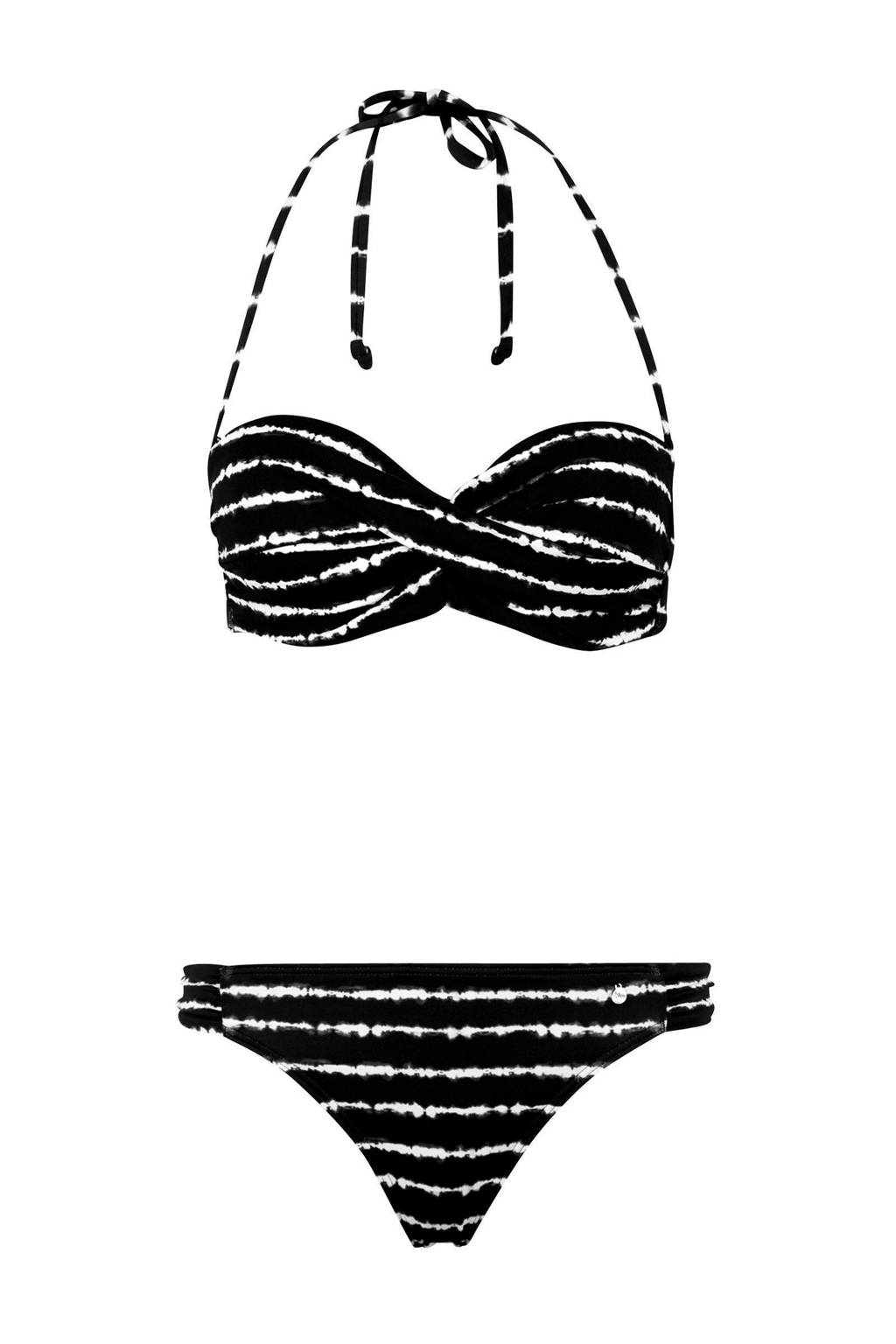 s.Oliver gestreepte strapless beugel bikini zwart, Zwart/wit