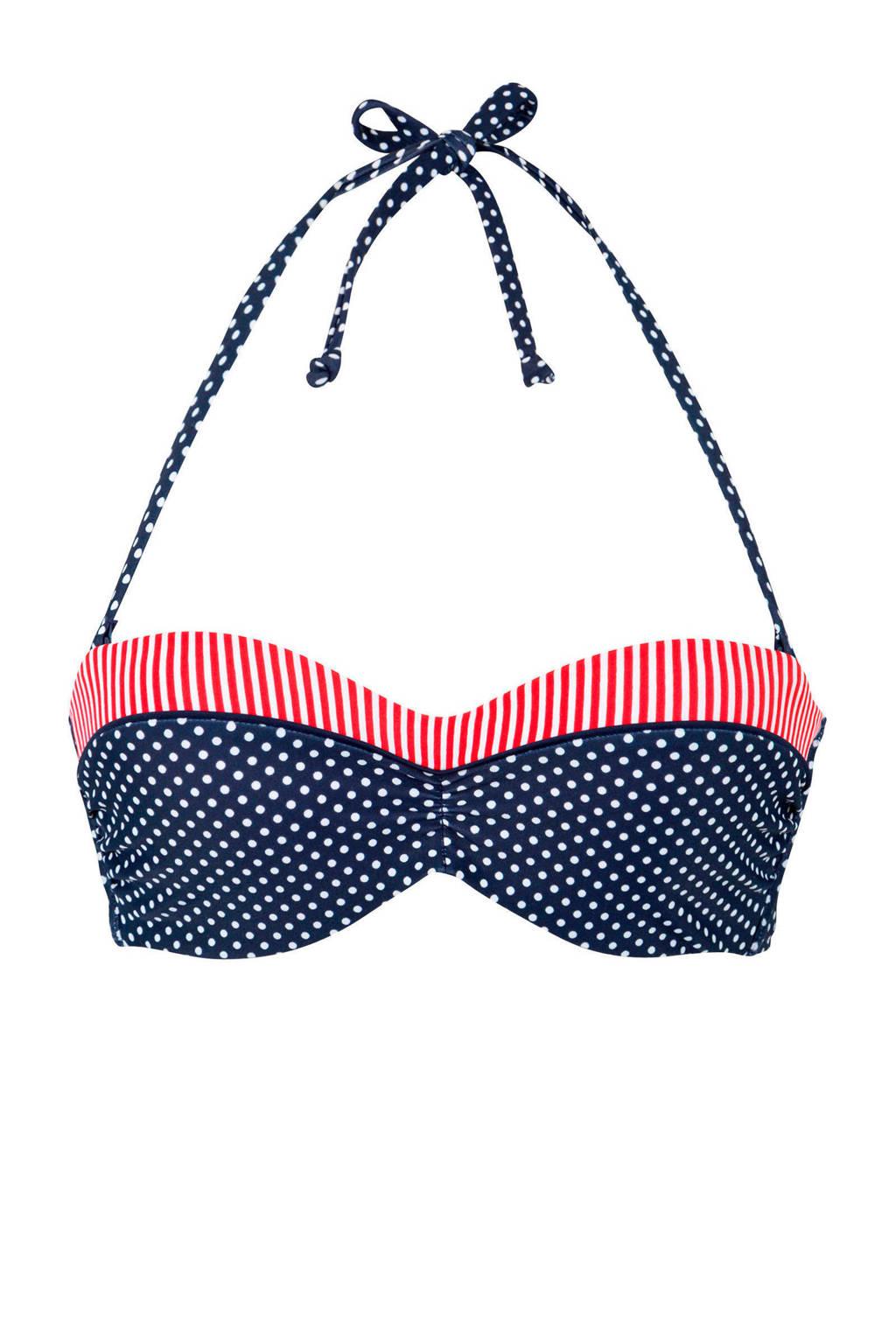 s.Oliver beugel bikinitop met stippen marine, Marine/wit