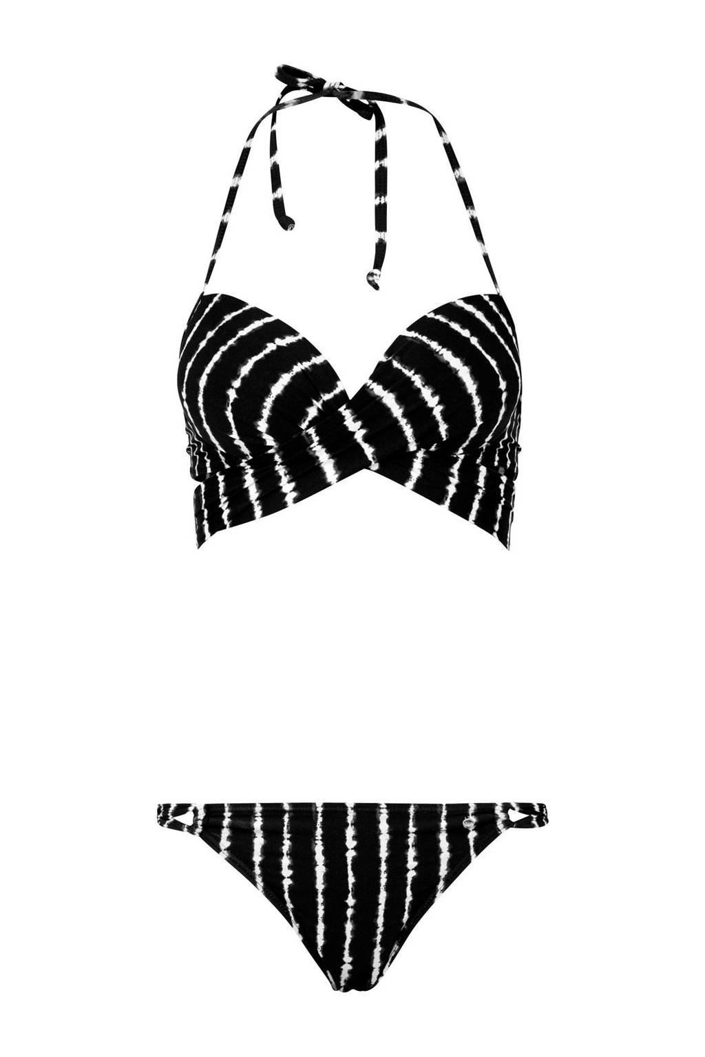 s.Oliver gestreepte push up bikini zwart, Zwart/wit