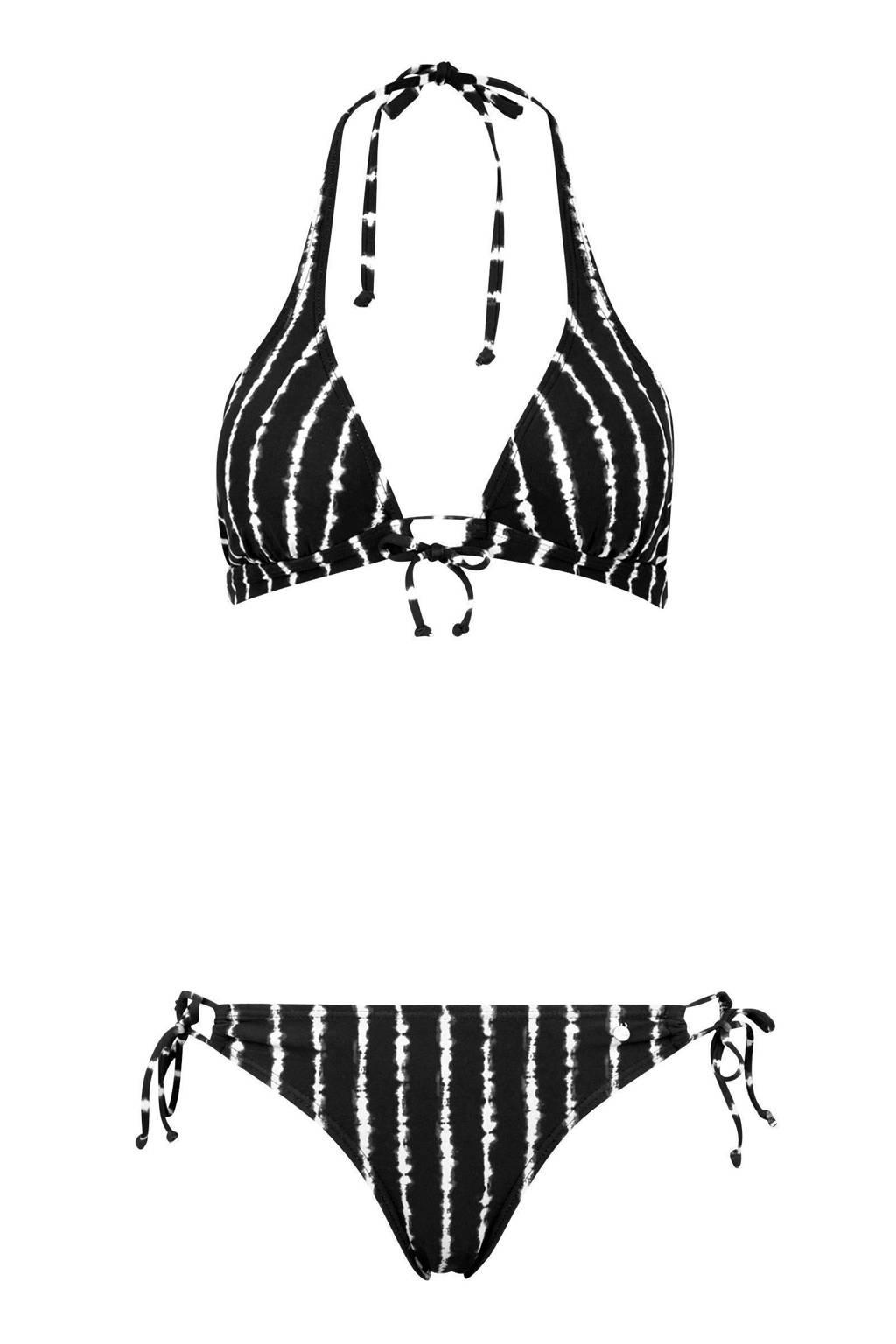 s.Oliver gestreepte halter bikini zwart, Zwart/wit