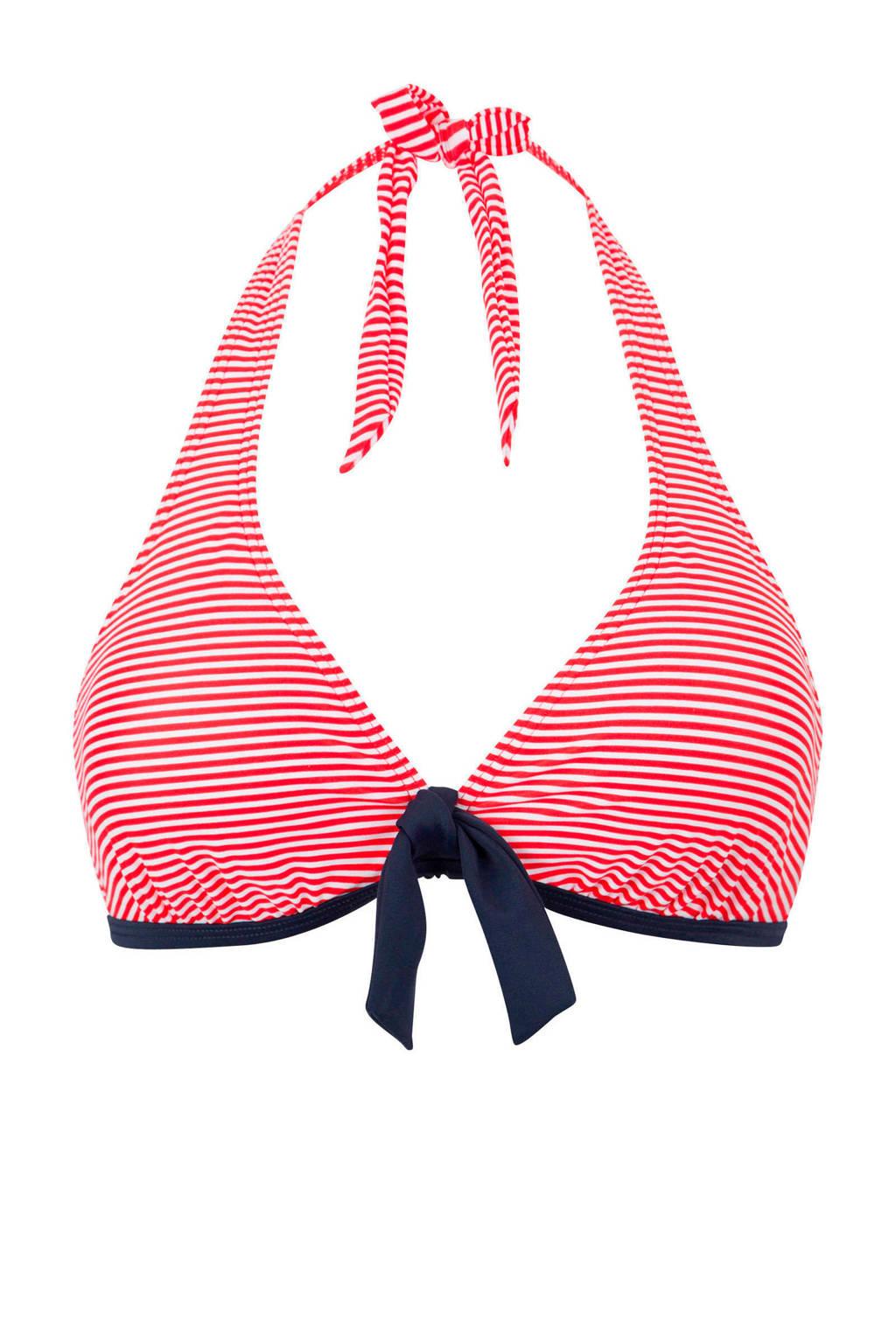 s.Oliver gestreepte halter bikinitop rood, Rood/wit