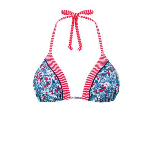 s.Oliver gebloemde triangel bikinitop blauw
