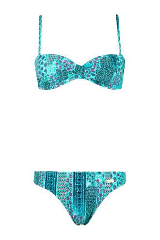 strapless beugel bikini met all over print lichtblauw