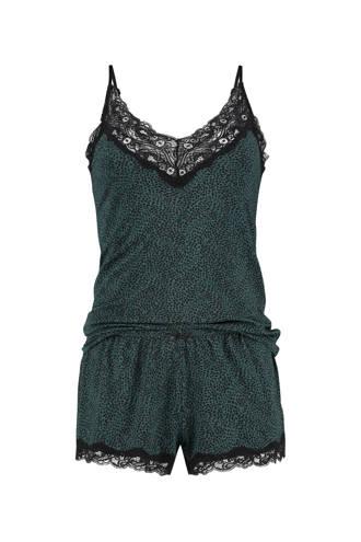 Elegant shortama met all over panterprint/kant groen/zwart