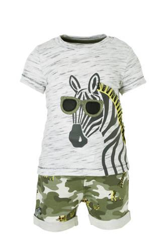 Baby Club T-shirt + sweatshort met dierenprint
