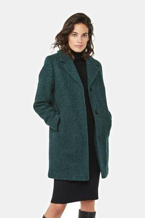 winterjas met wol donkergroen