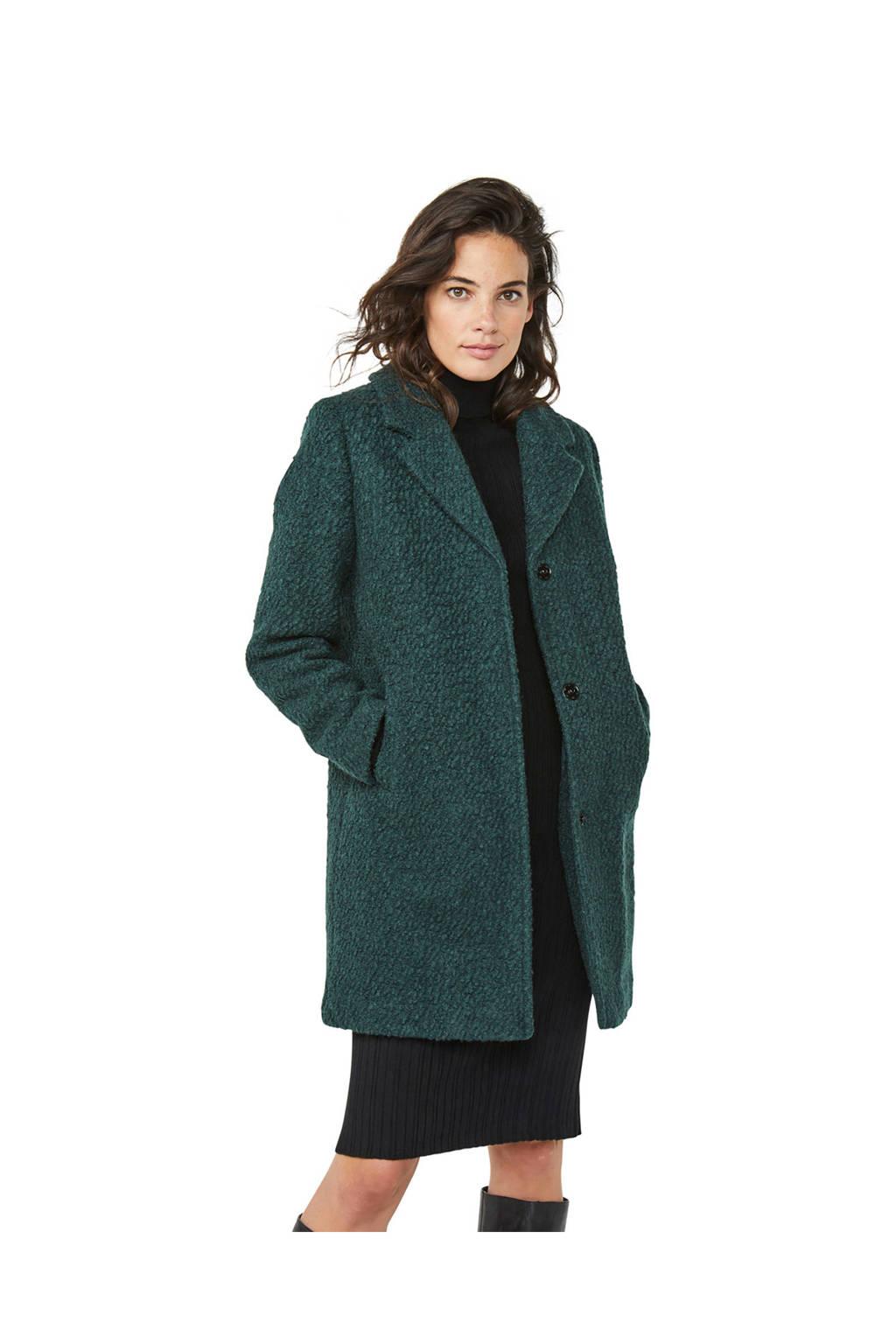 WE Fashion winterjas met wol donkergroen, Donkergroen