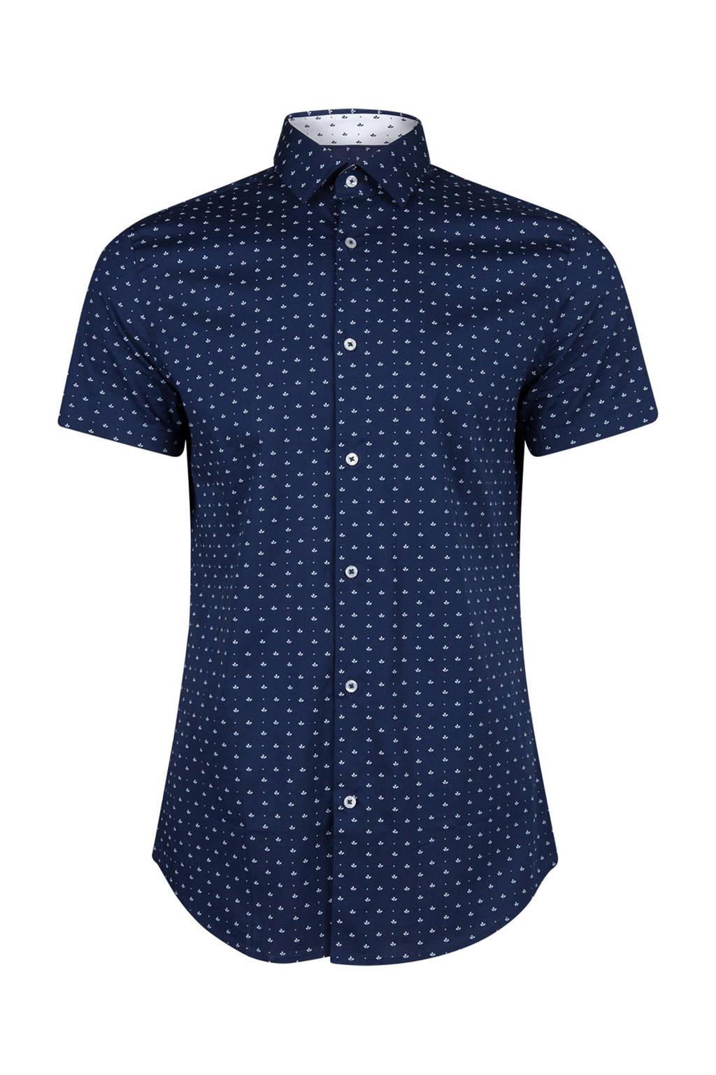 WE Fashion slim fit overhemd donkerblauw, Donkerblauw