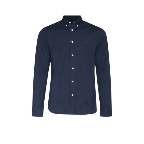 WE Fashion slim fit overhemd donkerblauw