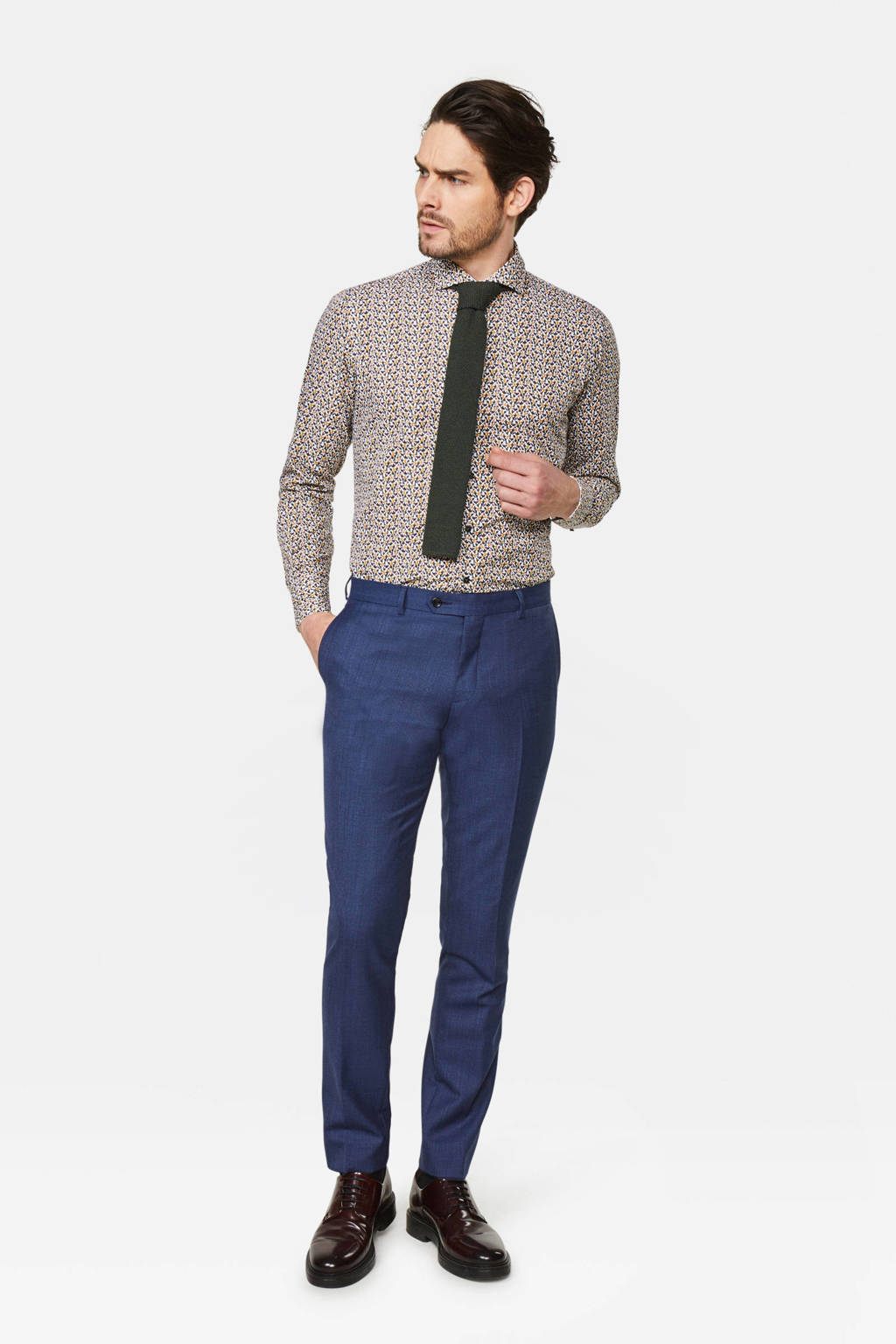 WE Fashion Van Gils slim fit overhemd met all over print wit/oker, Wit/oker