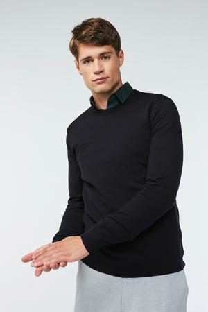 gemêleerde wollen trui zwart