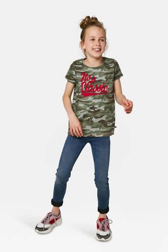 T-shirt met tekst groen camouflage