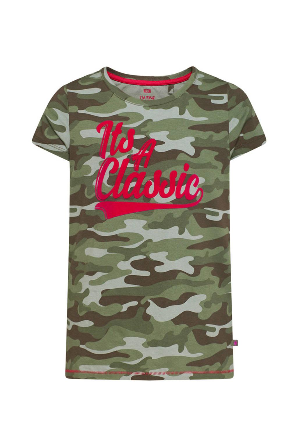 WE Fashion T-shirt met tekst groen camouflage, Groen camouflage
