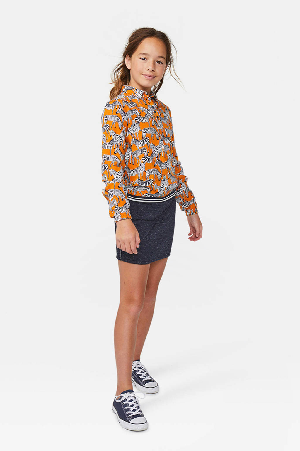 WE Fashion top met all over print oranje/wit/zwart, Oranje/wit/zwart
