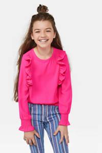 WE Fashion top met ruches neon roze, Neon roze