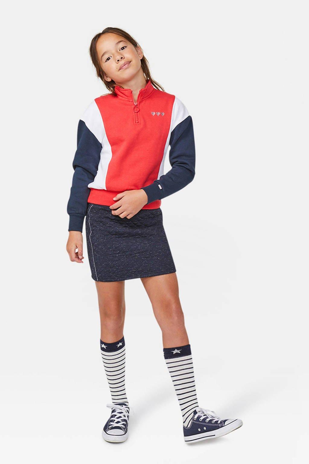 WE Fashion sweater felrood/wit/donekrblauw, Felrood/wit/donekrblauw