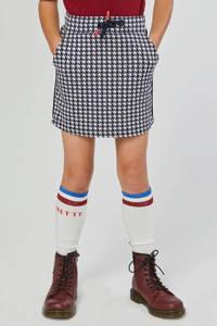 WE Fashion rok met pied-de-poule donkerblauw/wit, Donkerblauw/wit